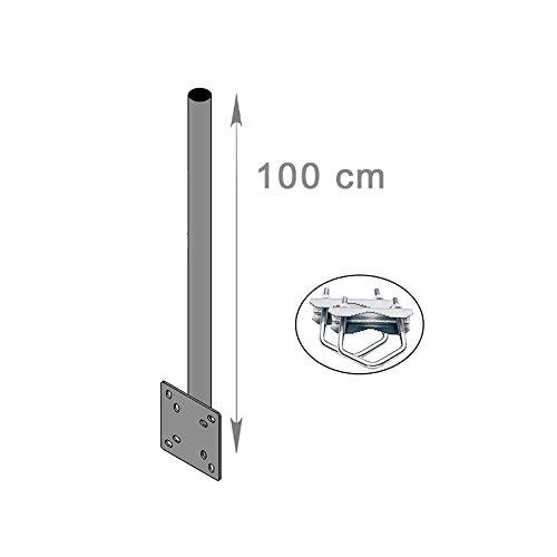 HD-LINE Mast Verlängerung Wand & Balkon Montage mit Schelle (horizontal oder vertikal) Halterung Antenne BALKON 100 cm für Spiegel Sat