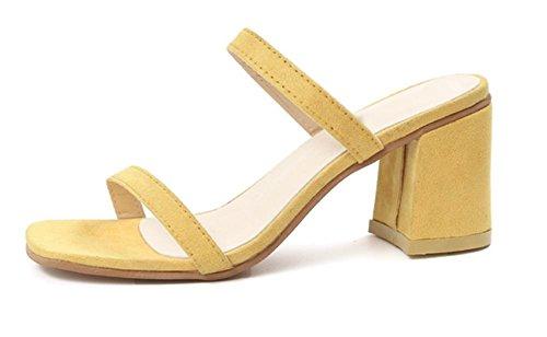 Mme sandales d'été rugueux avec des chaussures de mode minimaliste à talons hauts sandales mot tête carrée Yellow