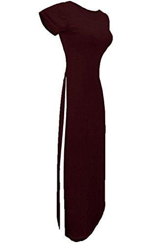 Oops Outlet Damen Rundhalsausschnitt Kappe Kurzärmlig Doppelseitig Schlitz Hohe Taille Split Langes Maxikleid Top Übergröße 8-22 Weinrot