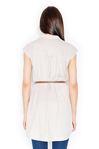 Figl Robe-chemisier contemporaine à manches courtes Beige