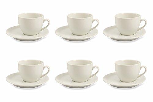 Galileo Casa Bianco Juego de 6 Tazas de té con Platillos, de Porcelana