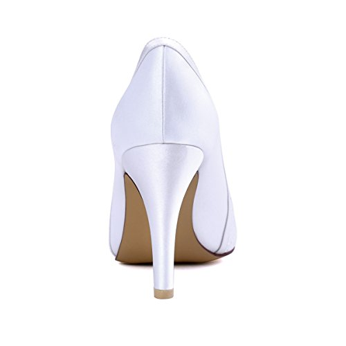 Elegantpark Femme Peep Toe Talon Aiguille Pompes En Satin Dentelle Chaussures De Mariage Blanc