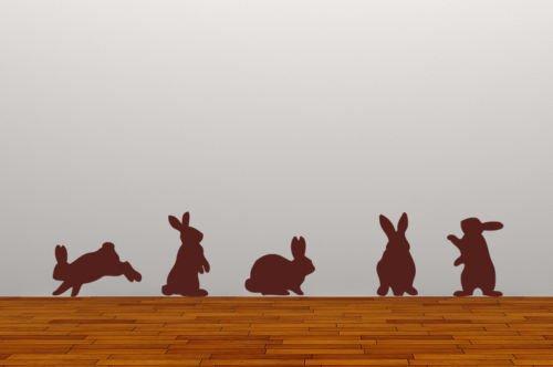 60 Second Makeover Limited Set 5 Kaninchen Entfernbarer Wandsticker Aufkleber Grafik Wandsticker Wohnzimmer Hase Hasen Frühling - Braun Matte