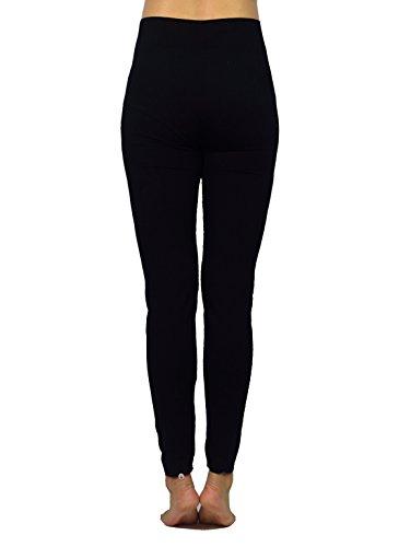 AMORETU Damen Winter Undurchsichtige Stretch Workout Leggings Hose Schwarze Große Größen(Dünne & Dicke) Stil B: Schwarz