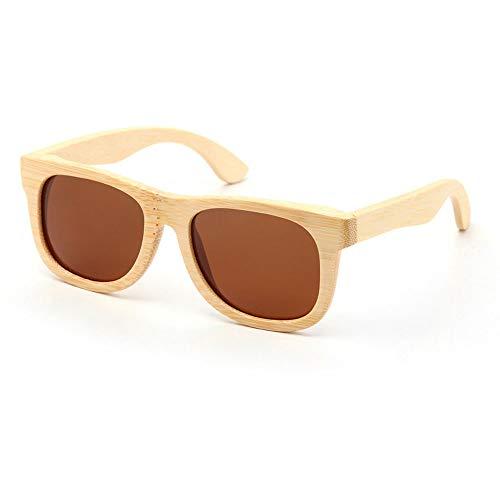 Alvndarling Polarized Sonnenbrillen Herren und Damen Bamboo Frame Sonnenbrillen UV400 (Farbe : Braun)