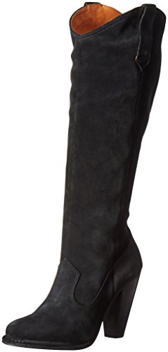 FRYE Women's Madeline Tall Western Boot, Black Suede, 10 M US (Black Boot Suede Tall)