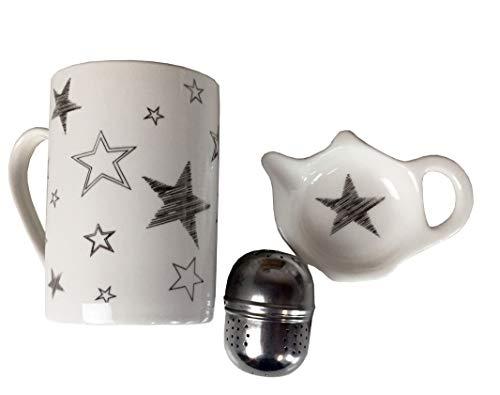 Handwerk Teetasse mit Teeei und Schälchen Sterne weiß Silber Porzellan 3er Set