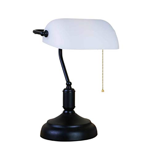 Wang Lining Banker Lampe Antiken Stil Glastischlampe Leuchte Satin Metall Perle Seil Schalter (Farbe : A)