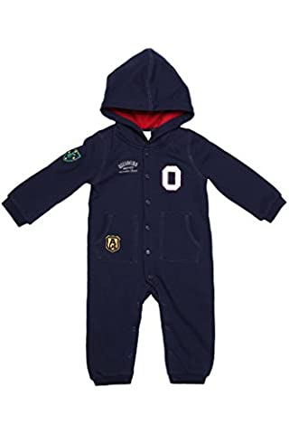Oceankids Baby Boys Girls Navy Blue Snap Button Hooded Jersey Jumpsuit 12-18 Months