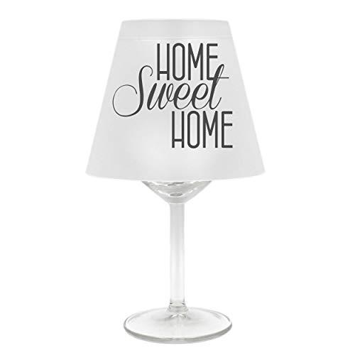 WB wohn trends Lampenschirm für Weinglas ~ Home Sweet Home, B, grau ~ Schirm ohne Glas ~ Windlicht