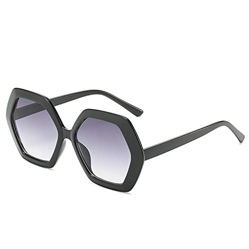 Yangjing-hl Sonnenbrille Retro Polygon Brille Damen Big Box Sonnenbrille hell schwarz doppelt grau