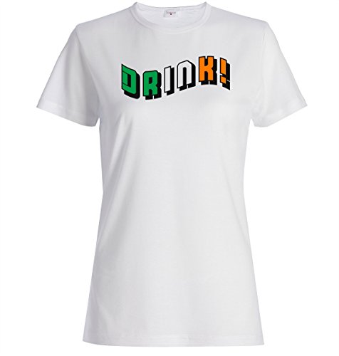 Irish flag colors drink logo funny dope t-shirt femme coton Blanc