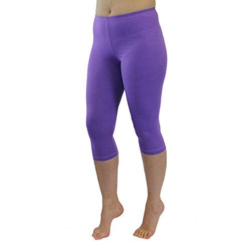 Lange Länge Leggings (Blickdichte Leggings für Damen Capri Hose Leggins Bunt aus Baumwolle 3/4 Länge, Farbe: Heidekraut, Größe: 48-50)