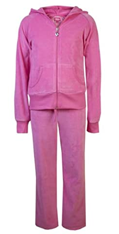 Childrens Velour Tracksuits Girls Tracksuits Kids Play Wear Velour Joggers Jacket And Jogging Bottoms By Love Lola® Hot Pink Age