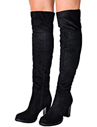 4906e1a39807 Lily Lulu Woman s Shoes Cleated Long Over The Knee Block Heel Suede Boots  Black