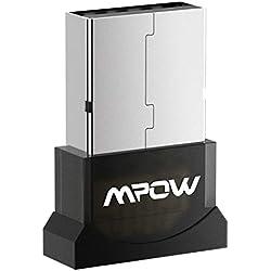 Mpow USB Bluetooth Mini Adaptateur Dongle Sans Fil Clé USB Bluetooth 4.0 pour PC Windows 10/8/8.1/7/XP/Vista, 32/64 Bits, Plug & Play ou Pilote IVT Pour Souris, Clavier, Casques, Enceintes, Imprimante