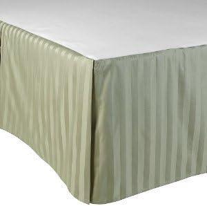 Dreamz Parure de lit Fils Super Doux Coton égyptien 600 Fils lit Finition élégante 1PC en pli Creux Jupe de lit (Drop Longueur: 76,2 cm) UK Unique, Mousse, Olive à Rayures 45d409