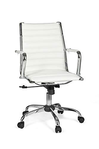 FineBuy Bürostuhl Genua 2 Bezug Kunst-Leder Weiß Design Schreibtischstuhl höhenverstellbar X-XL 110 kg Chefsessel ergonomisch Drehstuhl mit Armlehnen Rücken-Lehne Wippfunktion verstellbar Schalensitz