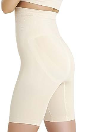 Formeasy Damen Figurformende Kompressionshose mit langem Bein, bauchhoch (S, Beige)