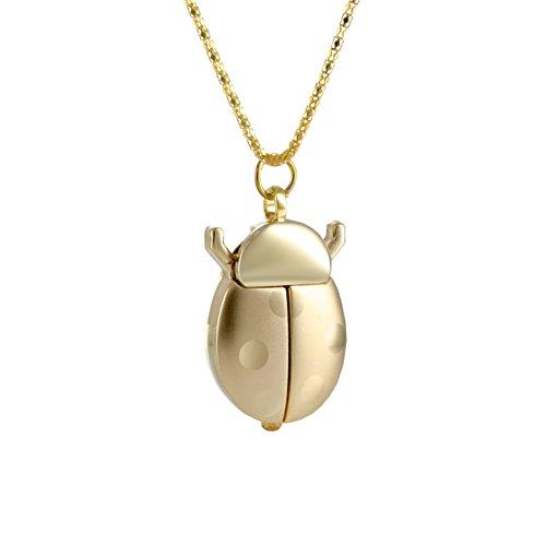 goldene Marienkäfer Form Quarzanhänger mit Kette Anhänger Uhr Halskettenuhr