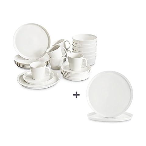 Porzellan Geschirr-Set Svea 26 tlg. inkl. 2 Servierteller von Springlane