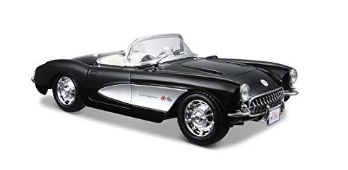 Maisto Chevrolet Corvette \'57: Originalgetreues Modellauto 1:24, Türen und Motorhaube zum Öffnen, Fertigmodell, 20 cm, türkis (531275)