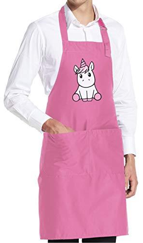 vanVerden Süßes knuffiges Kinder Einhorn Kostüm Fun Unicorn - Schürze Grillschürze Kochschürze Küchenschürze mit Tasche, Farbe:Orchid Pink