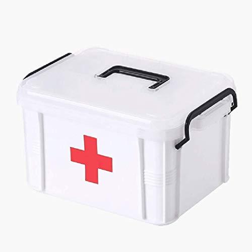 GOXJNG Medizin Box Set Kunststoff-Medizin-Kasten-Behälter Tragbare Erste-Hilfe-Kit Apotheke Double Layer Pill Box Health Care for Heim Not- und Überlebenssituationen (Size : Small)