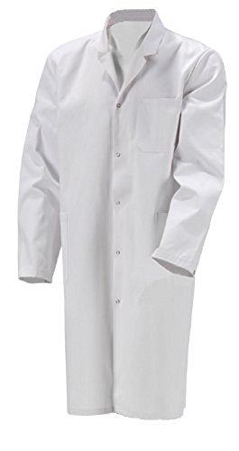 Herren Laborkittel 48 2te Wahl Baumwolle weiß Labor Kittel Mantel (48, Weiß)