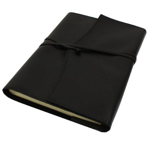 Papuro Milano Nachfülleinlage für Italienisches Leder schwarz blanko Tagebuch-15x 21cm