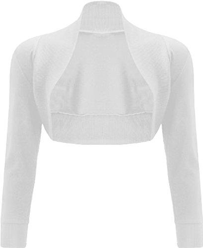 Xclusive NUOVA da donna tinta unita a maniche lunghe Bolero coprispalle Crop Cardigan S/M M/L White