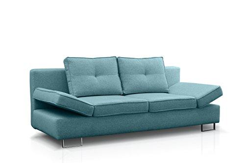 Möbel89 - Super Modernes Schlafsofa als Klappsofa / Sofa Couch mit Schlaffunktion und Bettkasten / Schlafcouch mit Bettfunktion in türkis / BxTxH: 210 x 100 x 86 cm / Liegefläche: 205 x 150 cm, Farbe wie abgebildet - blau / Schlafsofa, Klappsofa, Schlafcouch, Sofa, Couch in BxTxH: 210 cm x 100 cm x 86 cm