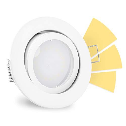 linovum® fourSTEP LED Deckenleuchte schwenkbar dimmen ohne Dimmer 230V - Einbauleuchte weiß lackiert rund warmweiß 5W