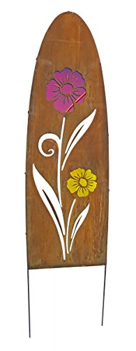 Gartenschild Metall oval Rostoptik Blumenmotiv Dekostele Gartenstecker Motivwahl, Motiv:Blume...