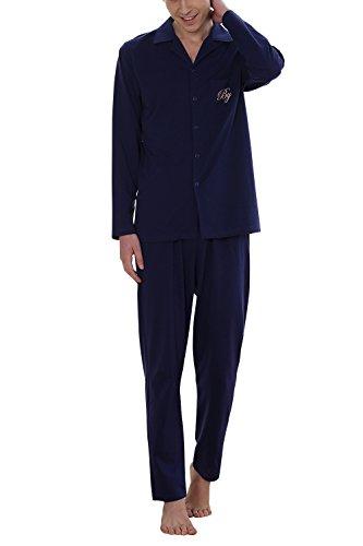 Dolamen coppie pigiama per uomo, signore calda molle inverno pigiama da notte, 100% cotone uomo pigiama invernale, manica lunga top & pantaloni con tasche (xx-large, blu)