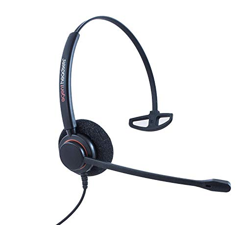Professional Single Ear Noise Cancelling Office/Call Centre Headset With U10P Bottom Cable works with Mitel, Nortel, Avaya Digital, Polycom VVX, Shoretel, Aastra + Many More Nortel Single