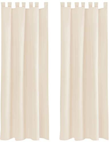 Bestlivings Blickdichte Gardine im 2er Pack mit Schlaufen (140x145 cm/Beige), in vielen Farben