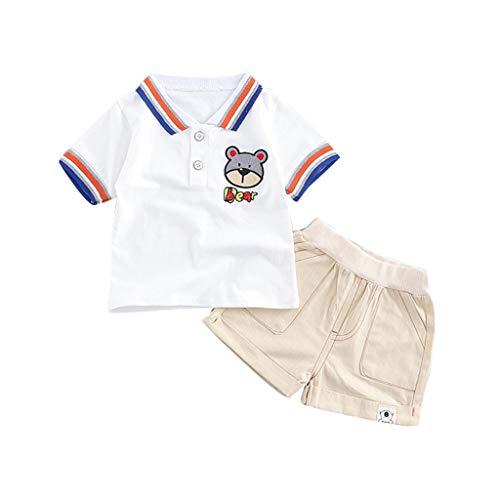 TTLOVE_Baby Sommer Kleinkind Boys Bekleidung Kleidung, Kids Jungen Outfits Set Cartoon-Bär T Shirt Tops+Shorts Mode Bequem Baumwolle Kostüm(Weiß,100 cm,2-3 Jahre)