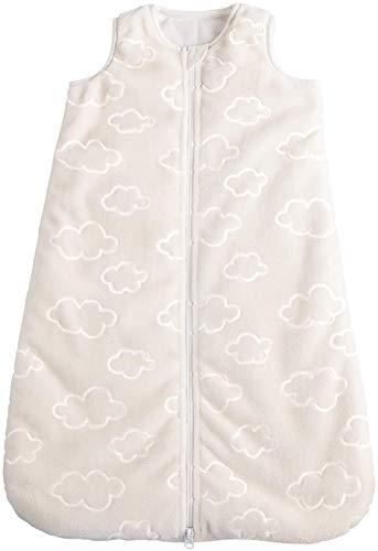 POCOPIANO® Baby Winterschlafsack | Schlafsack aus weichem Plüsch | Innenfutter aus 100% Baumwolle (wollweiß - Wölkchen, 90 cm - ca. 6-18 Monate)