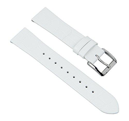 Ersatzband Uhrenarmband Leder Band Damenband weiß passend zu Hugo Boss mit 18mm Anstoß 28342S