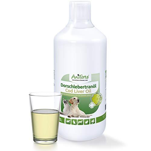 AniForte Dorsch-Lebertran 1 Liter für Pferde, Hunde, Katzen und Haustiere, Natürliche Quelle für Vitamin D und Omega-3-Fettsäuren (Fischöl Und Vitamin D)