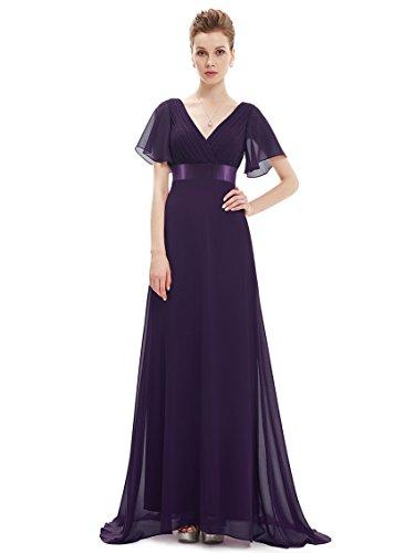 Ever Pretty Damen V-Ausschnitt Lange Abendkleider Festkleider 38 Violett EP09890DP06