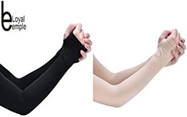 Loyal EMPLE® Unisex Nylon Fingerless Arm Sleeves with Thumb Hole for Sport Activities- Skin+Black Color