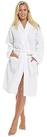 Ultimate Linens Unisex Hotel Kimono Robe Bath Dressing Gown White Luxury 100% Cotton Turkish Waffle Spa Tie Waist