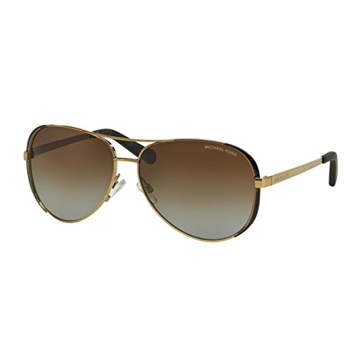 MICHAEL KORS Women's 5004 CHELSEA 1014T5 59 Rectangular Polarized Sunglasses 59, Gold/Dark Chocolate Brown/Browngradientpolarized