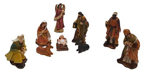 Piccoli monelli statuine presepe 11 cm resina grandi in movimento accessori per decorazioni natalizie confezione completa 9 pezzi