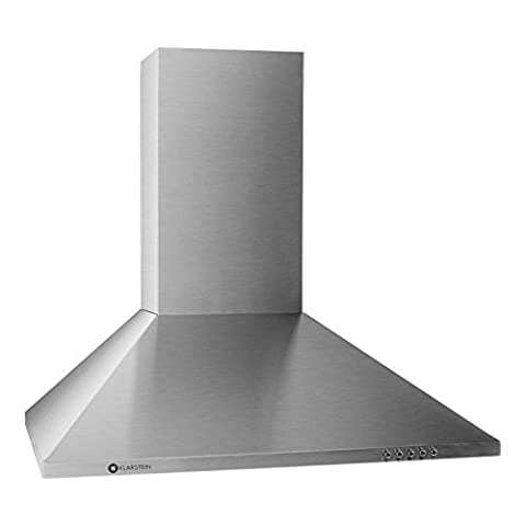 Klarstein TR60WS Mounted Cooker Hood • Recirculating Hood • 60cm • 310m3/h Extraction Capacity • 3 Power Levels • Exhaust Air Mode • Air Cleaner • Stainless Steel Body • Suitable for Wall Mounting • 2 Removable and Dishwasher-Safe Grease Filter Aluminum • Silver