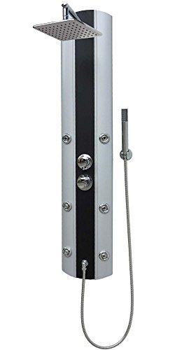 Duschpaneel Eckmontage mit Thermostat Silber Duschbrause mit 6 Massagedüsen Regendusche Handbrause Wandmontage