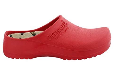 BIRKENSTOCK Unisex-Erwachsene Super Birki Damen und Herren Clogs, Arbeits-Clogs,Pantoletten mit Kork-Latex-Fußbett, Sandalen Rot, EU 38 -