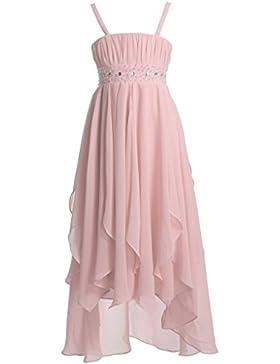FAIRY COUPLE Mädchens Schlinge Hi-lo Chiffon-Volantkleid asymmetrisches Plissee Party Festzug Ballkleid Blumenmädchen...